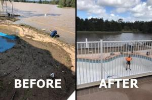 flooding pool 2 before after