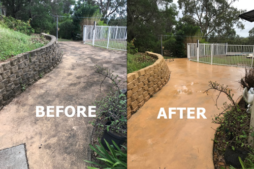 Terrace & retaining wall pressure washing